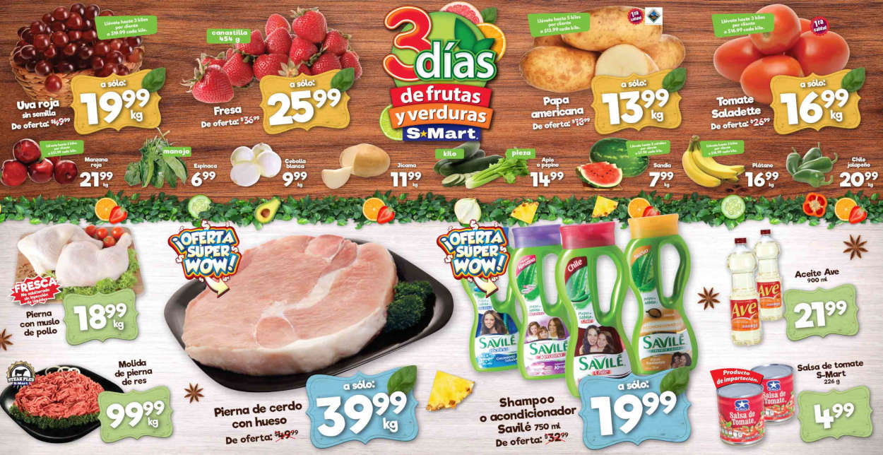 Folleto S-Mart frutas y verduras del 23 al 25 de junio de 2020