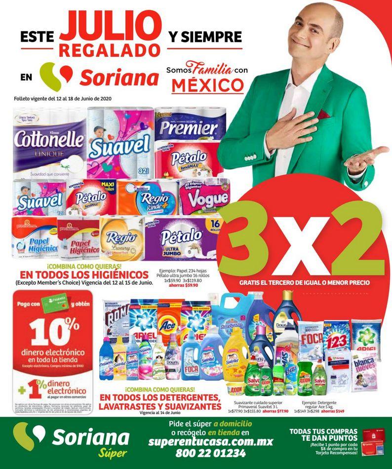 Folleto Soriana Súper Julio Regalado 2020 del 12 al 18 de junio