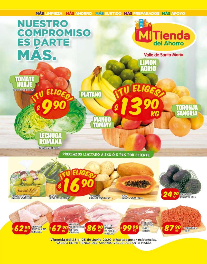 Frutas y Verduras Mi Tienda del Ahorro del 23 al 25 de junio 2020