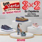 Sears: 3×2 en zapatos para toda la familia del 18 al 21 de junio de 2020