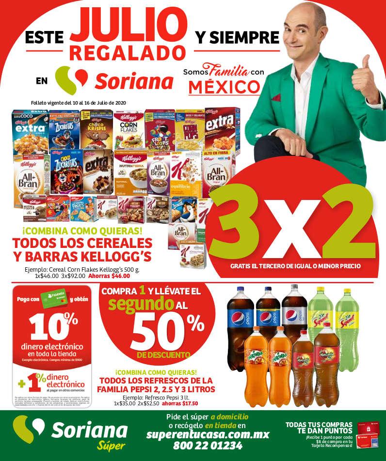 Folleto Soriana Súper Julio Regalado 2020 del 10 al 16 de julio