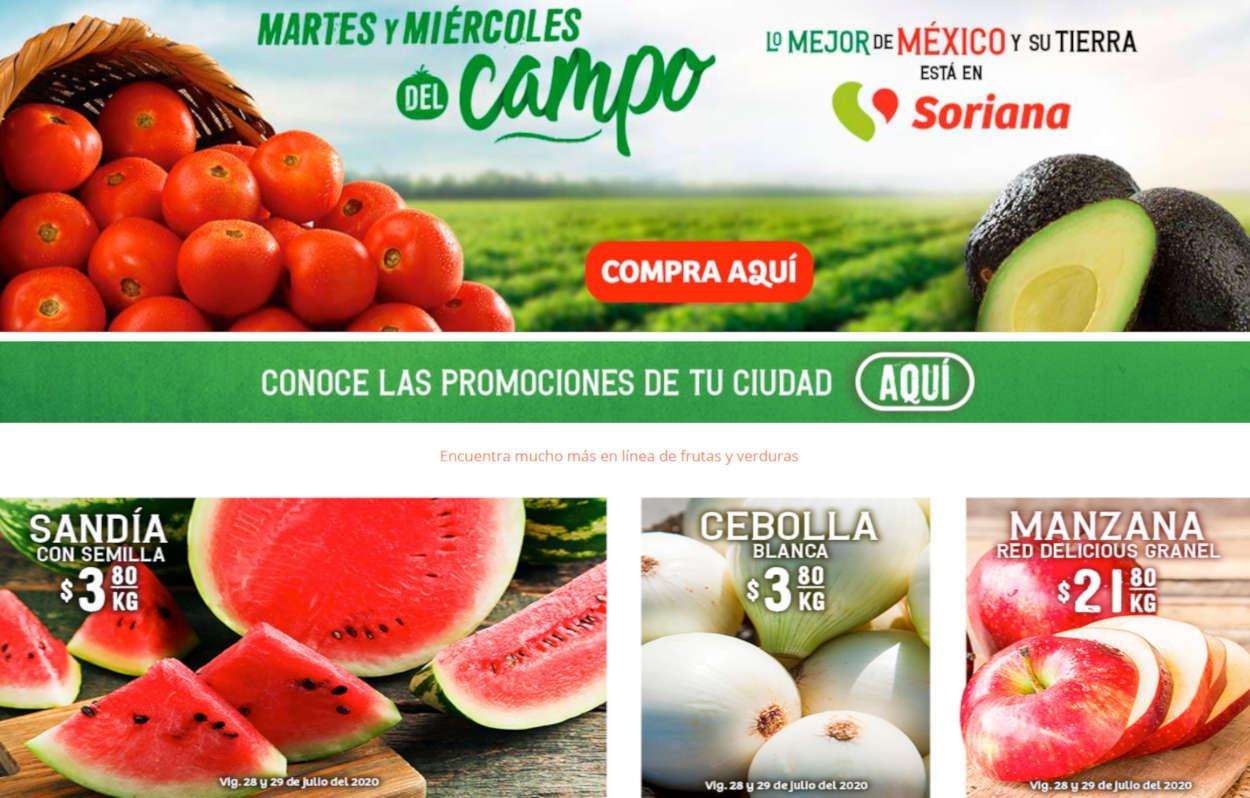 Folleto Soriana Mercado frutas y verduras del 28 al 30 de julio 2020