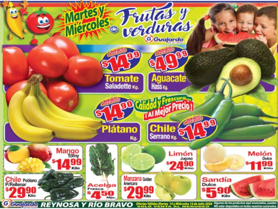 Folleto Super Guajardo frutas y verduras 14 y 15 de julio 2020