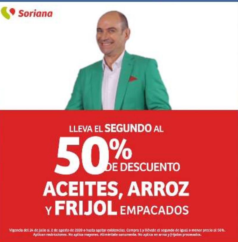 Julio Regalado 2020 en Soriana lleva el segundo al 50% de descuento en aceite arroz y frijol