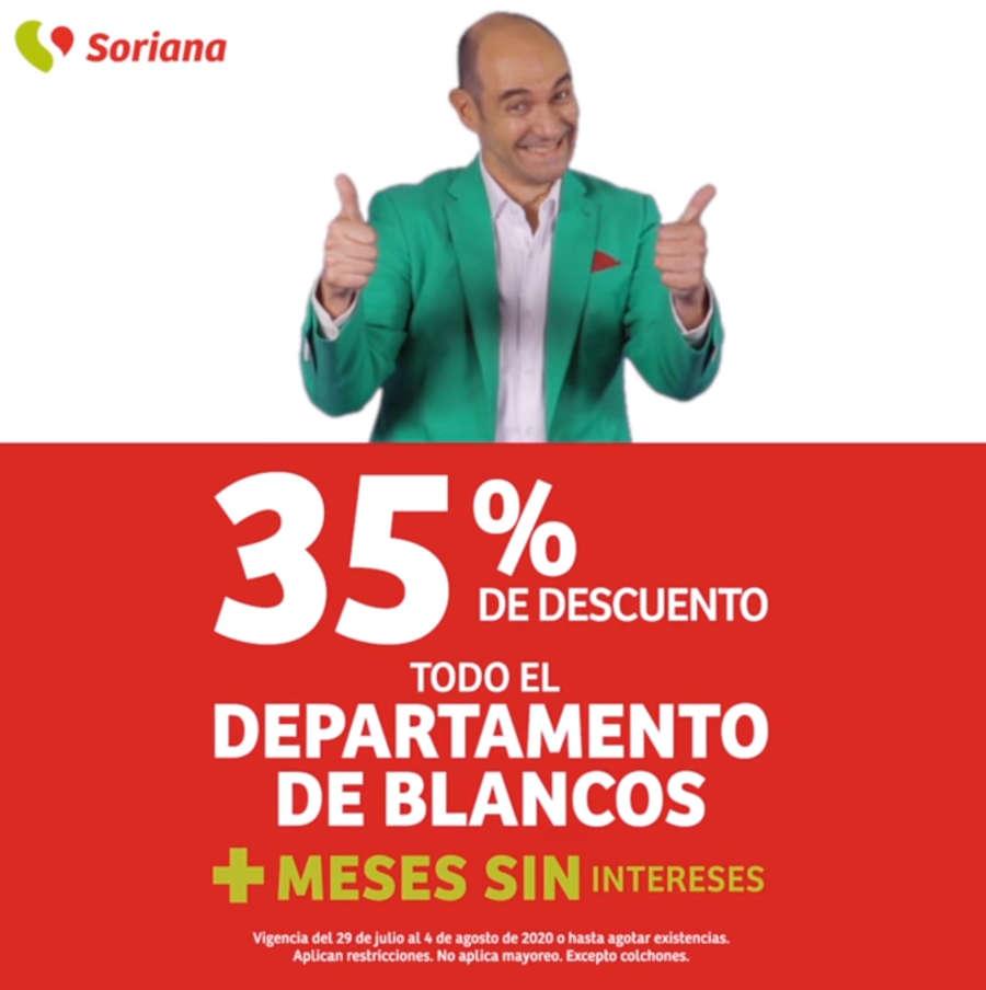 Soriana Julio Regalado 2020: 35% de descuento en departamento de Blancos