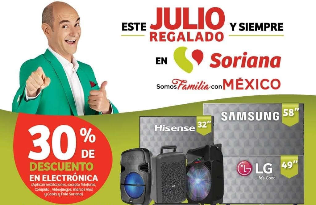 Julio Regalado 2020 Soriana: 30% de descuento en toda la Electrónica