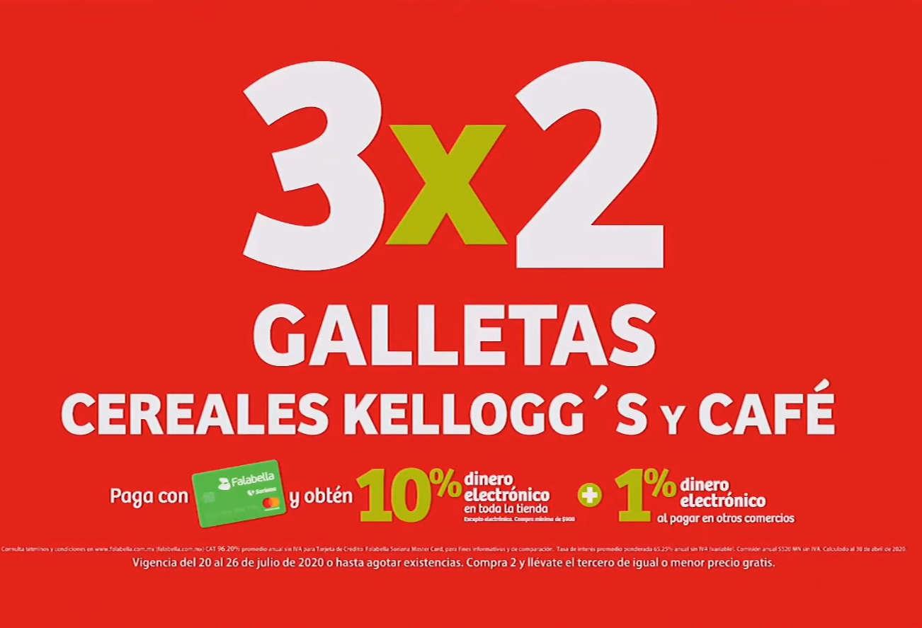 Julio Regalado 2020: 3×2 en Galletas, Café y Cereales Kellogg's