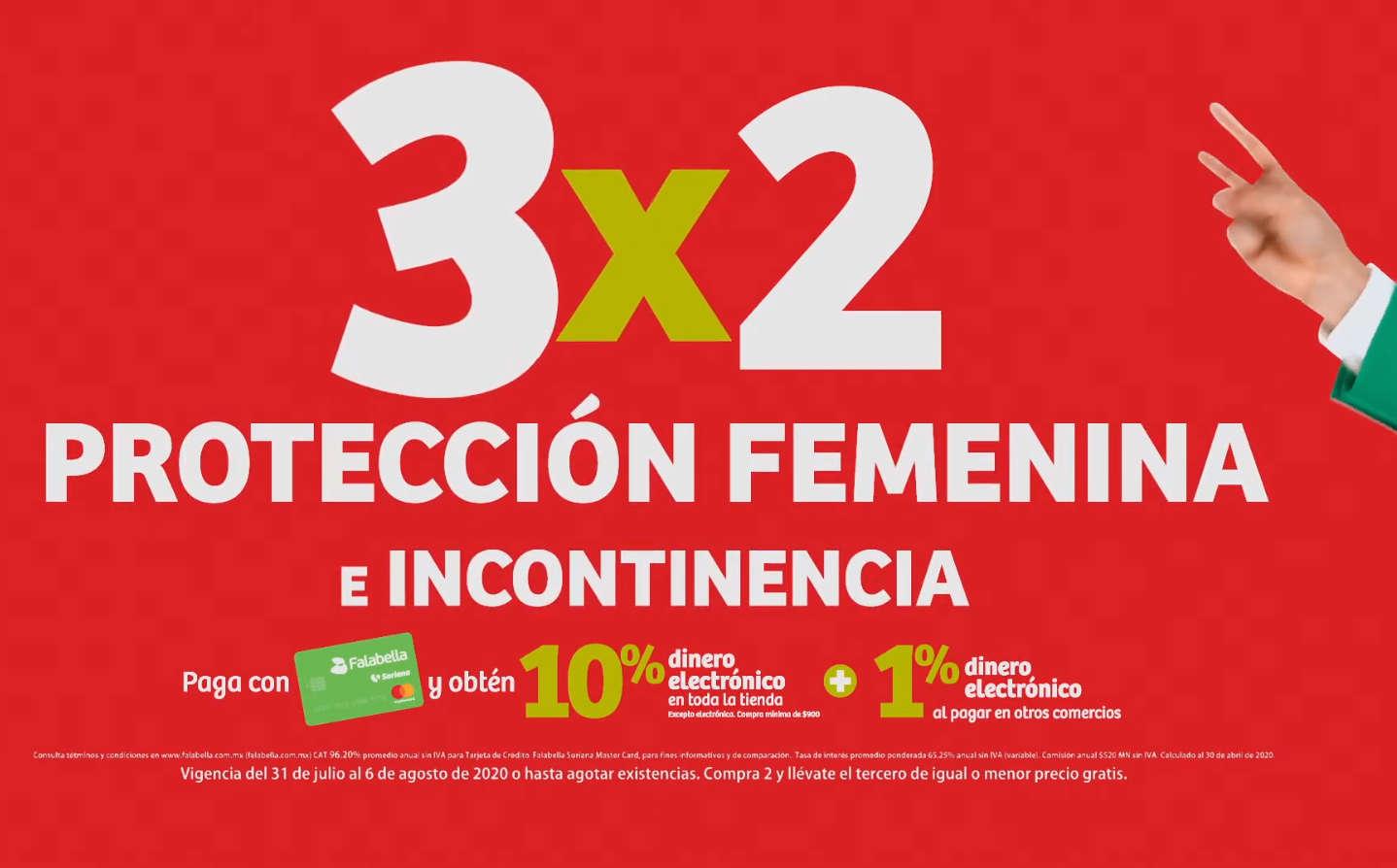 Soriana Julio Regalado 2020: 3×2 en protección femenina e incontinencia