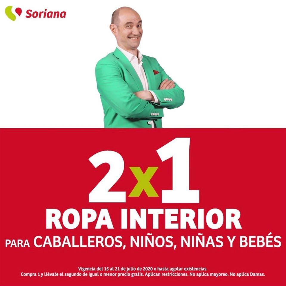 Soriana Julio Regalado 2020: 2×1 en ropa interior para caballeros, niños y bebés
