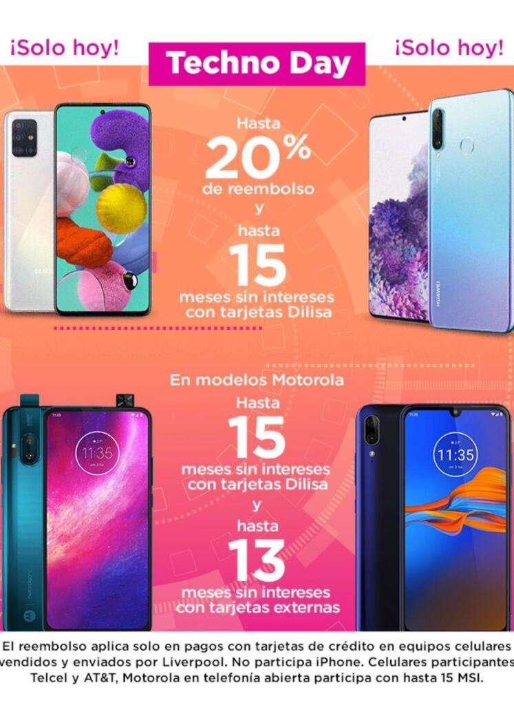 Promociones Liverpool Techno Day 2020: 20% de reembolso en celulares