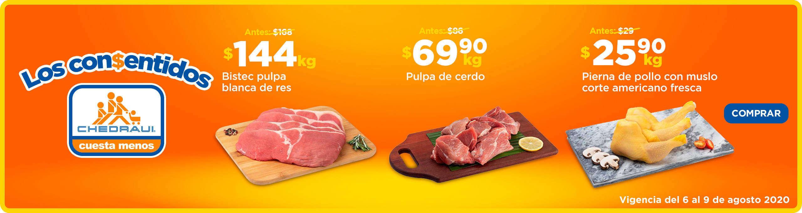 Ofertas Chedraui Carnes y Los Consentidos del 6 al 9 de agosto 2020