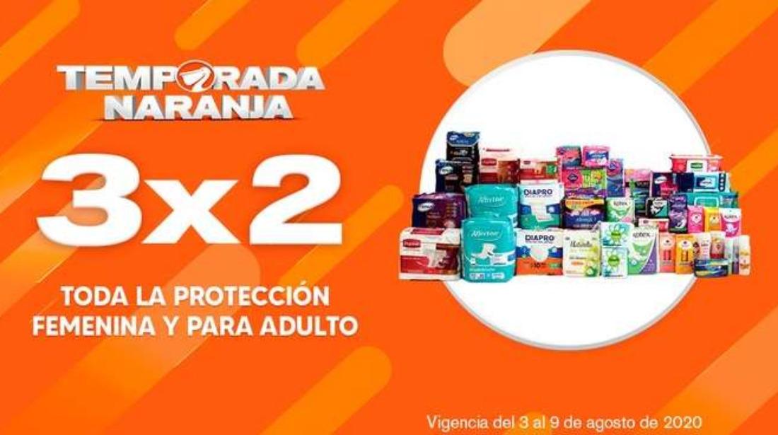 La Comer Temporada Naranja 2020: 3×2 en  incontinencia y protección femenina