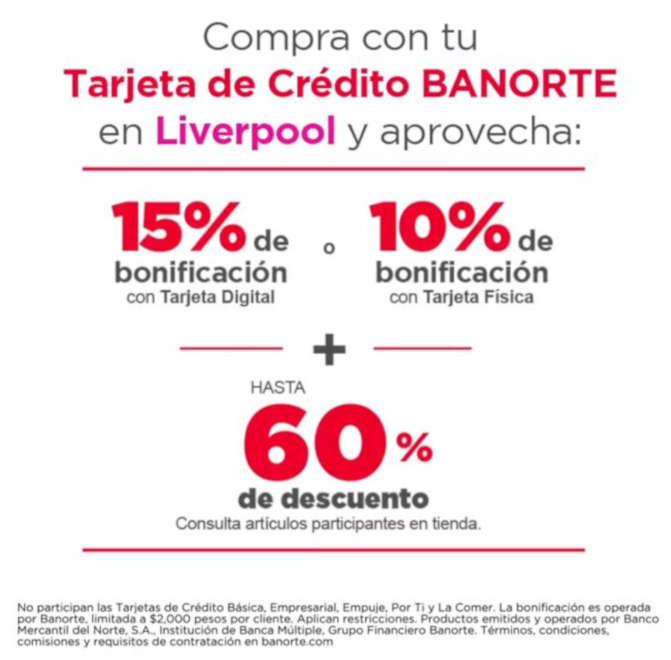 Liverpool – Gran Barata de Verano Hasta 60% de descuento + 15% de bonificación con Banorte