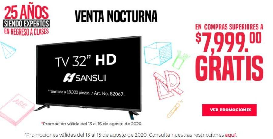 """Gran Venta Nocturna Office Depot del 13 al 15 de agosto Pantalla Gratis de 32"""" en compras de $7,999"""