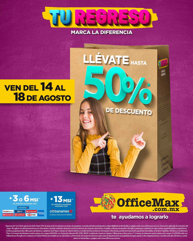 Promoción OfficeMax Venta Regreso a Clases 2020: hasta 50% de descuento
