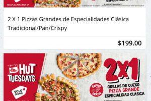 Pizza Hut: 2x1 en Pizzas grandes ¡Solo online en el Hut tuesdays!