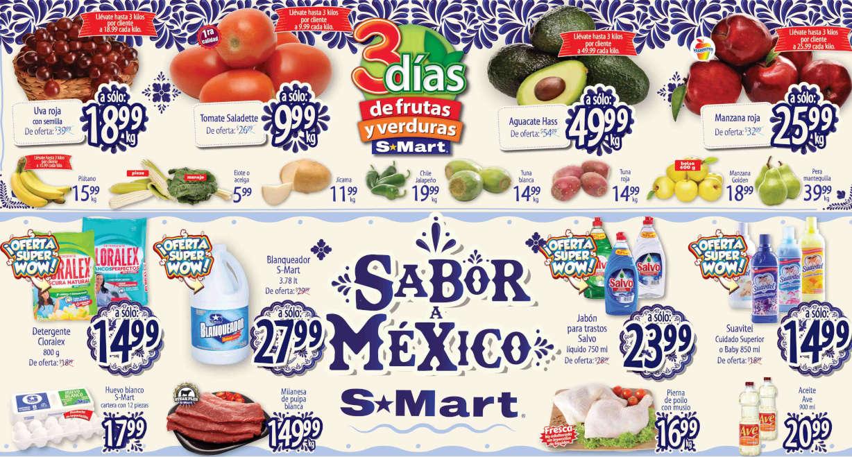 Folleto S-Mart frutas y verduras del 25 al 27 de agosto de 2020