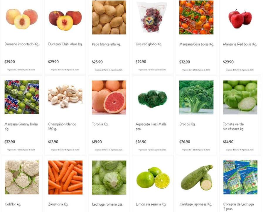 Folleto Bodega Aurrerá frutas y verduras Tianguis de Mamá Lucha 11 al 13 de agosto 2020