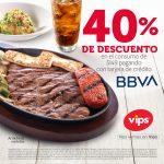 Vips: Cupón 40% de descuento con tarjetas de crédito BBVA Bancomer