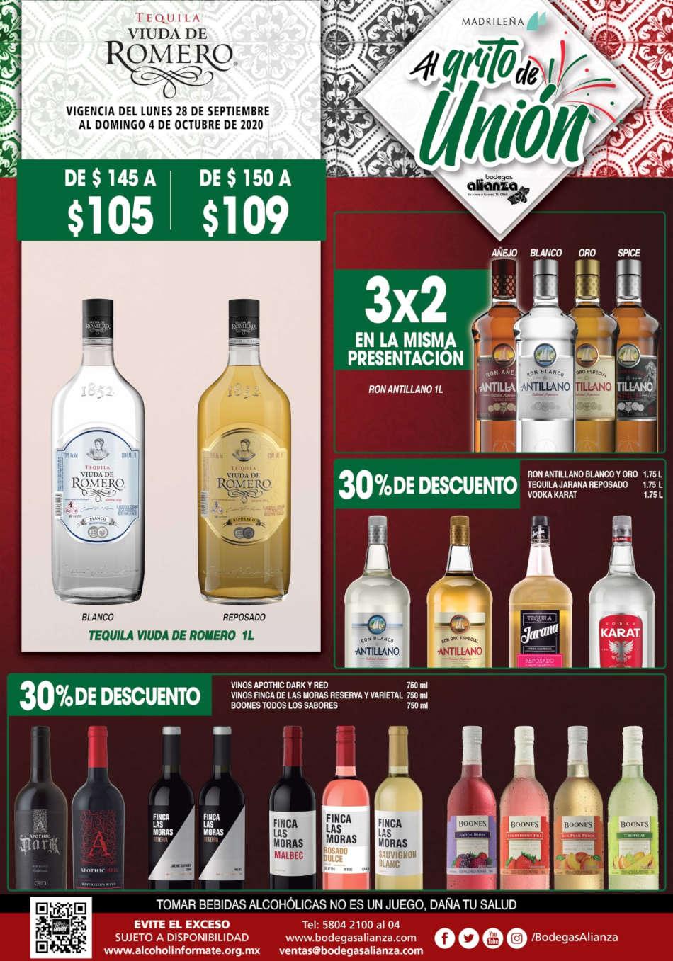 Folleto Bodegas Alianza vinos y licores 28 de septiembre al 11 de octubre 2020