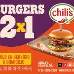Chili's: 2x1 en Hambueguesas del 11 al 20 de septiembre 2020