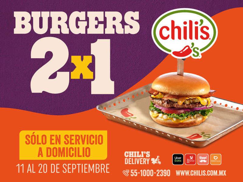 Chili's: 2×1 en Hambueguesas del 11 al 20 de septiembre 2020