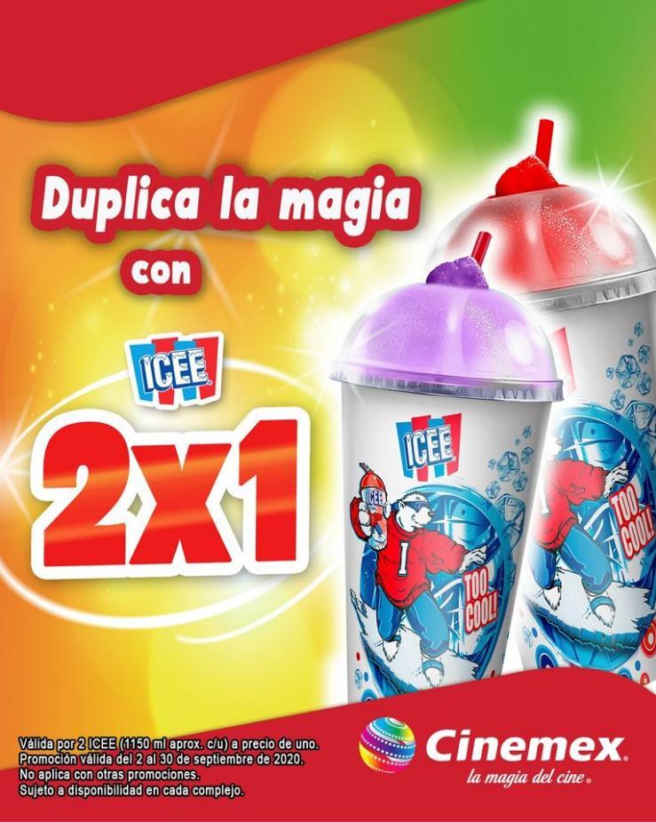 Promociones Cinemex 2×1 en ICEE