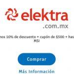 Elektra: 10% de descuento + cupón de $500 y 18 msi con Paypal