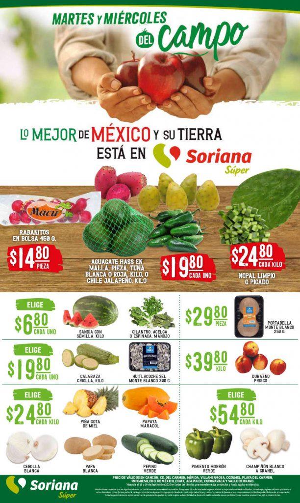 Ofertas Soriana Súper Martes y Miércoles del Campo 15 y 16 de septiembre 2020