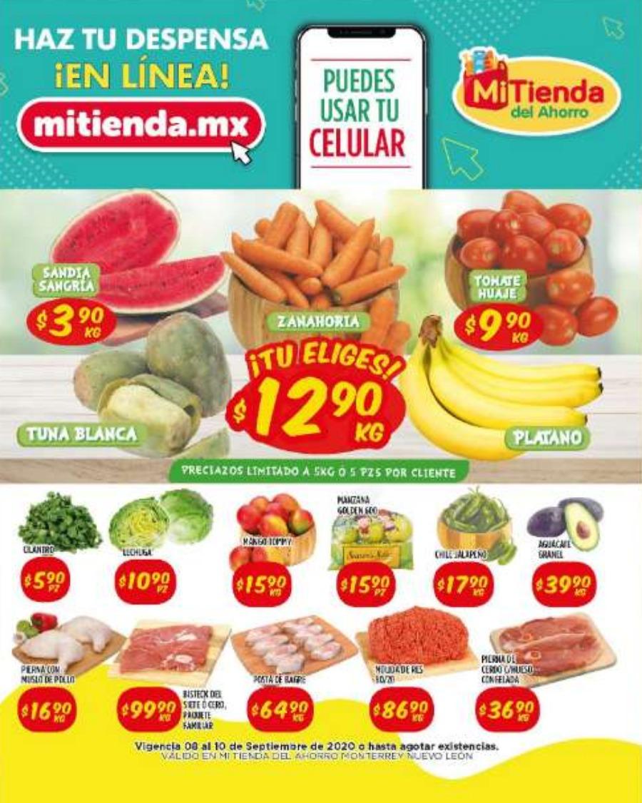 Ofertas de Frutas y Verduras Mi Tienda del Ahorro del 8 al 10 de septiembre