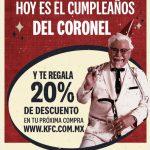 KFC: Cupón 20% de descuento en tu proxima compra