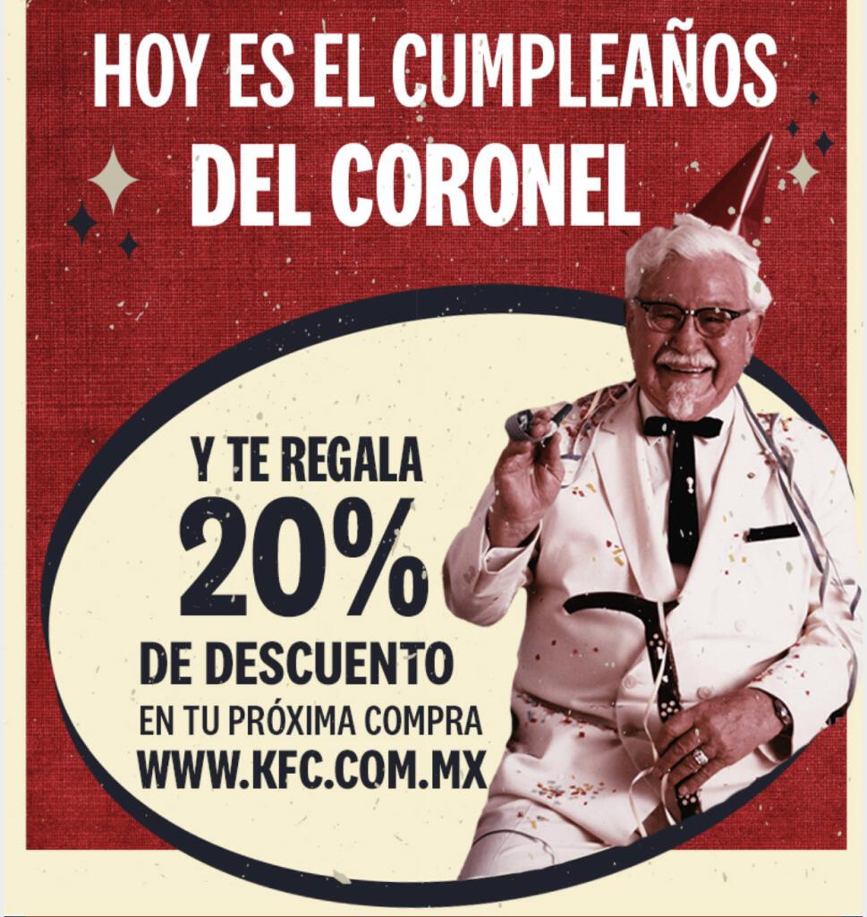 KFC: Cupón 20% de descuento en tu próxima compra