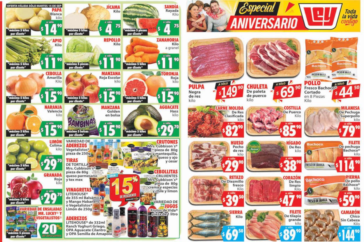 Folleto Casa Ley Frutas y Verduras 15 y 16 de Septiembre 2020