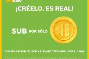 Subway: Compra un Sub y llévate el segundo por sólo $10 pesos