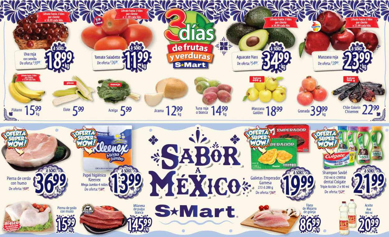 Folleto S-Mart frutas y verduras del 15 al 17 de septiembre 2020