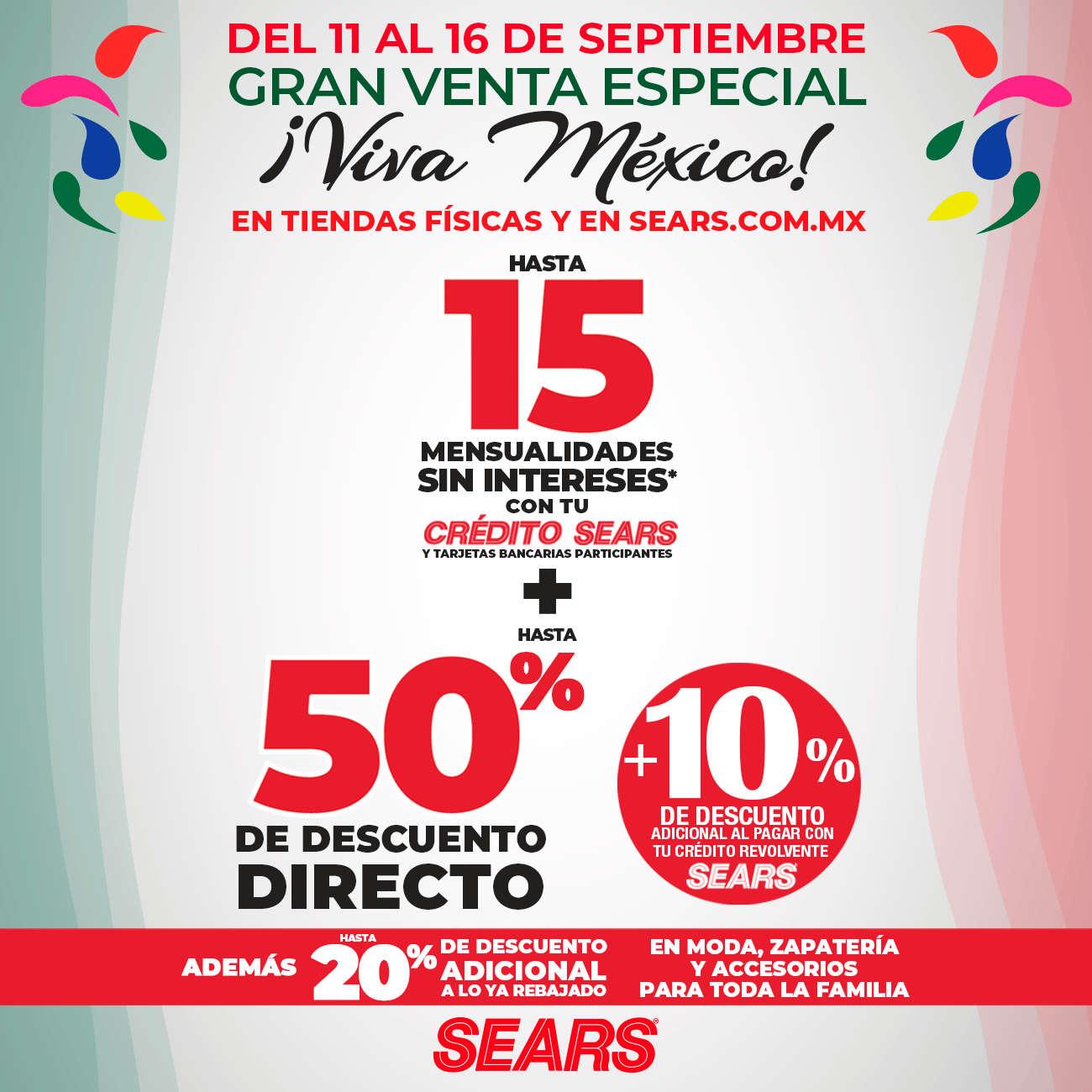 Venta Especial Sears Viva México del 11 al 16 de septiembre 2020