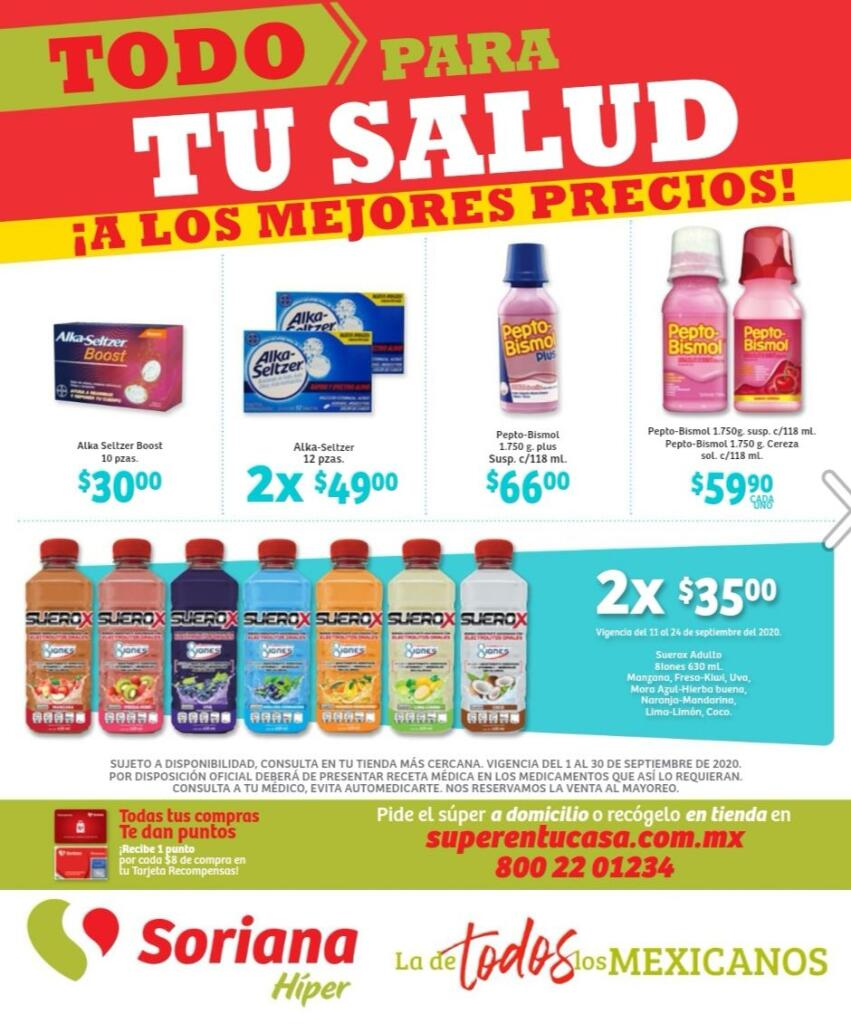 Soriana: Folleto de ofertas Todo para tu Salud 1 al 30 de septiembre 2020