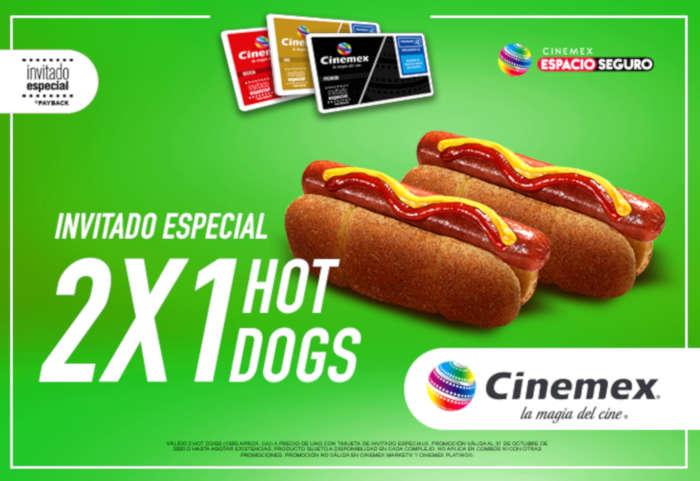 Promoción Cinemex 2×1 en hot dogs con tarjeta Invitado Especial