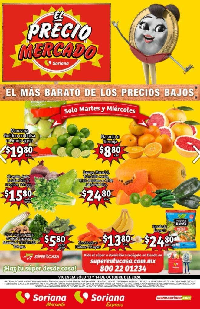 Folleto Soriana Mercado frutas y verduras del 13 al 15 de octubre 2020