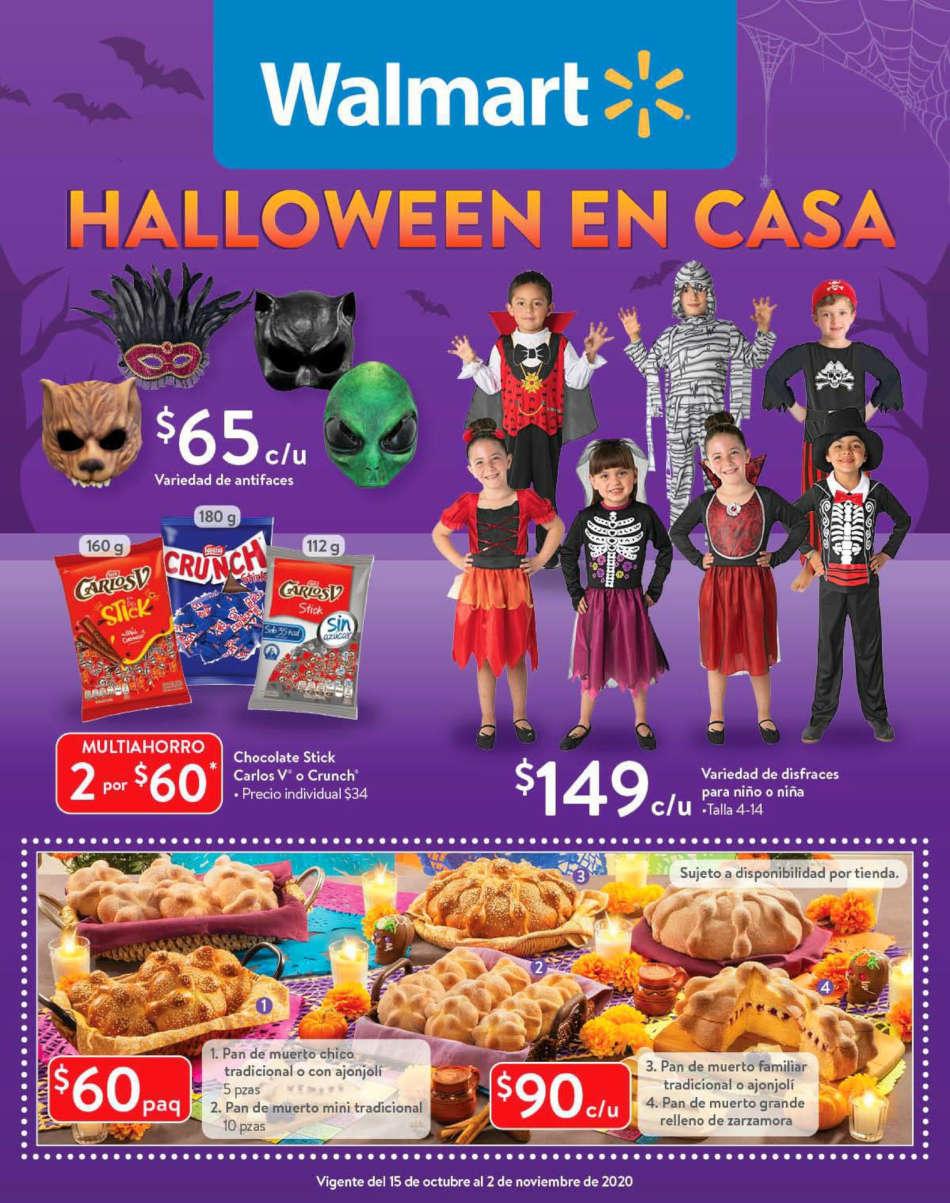 Folleto Walmart ofertas Halloween del 16 de octubre al 2 de noviembre 2020