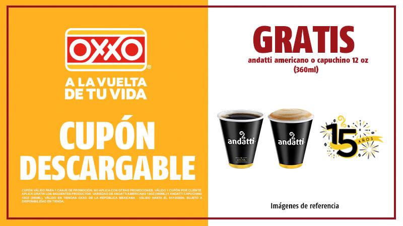 Oxxo: Cupones Café Andatti Gratis Promociones 15 Años de Aniversario