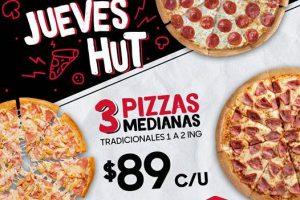 Pizza Hut: 3 Pizzas Medianas 1 o 2 Ingredientes por $267 los Jueves Hut