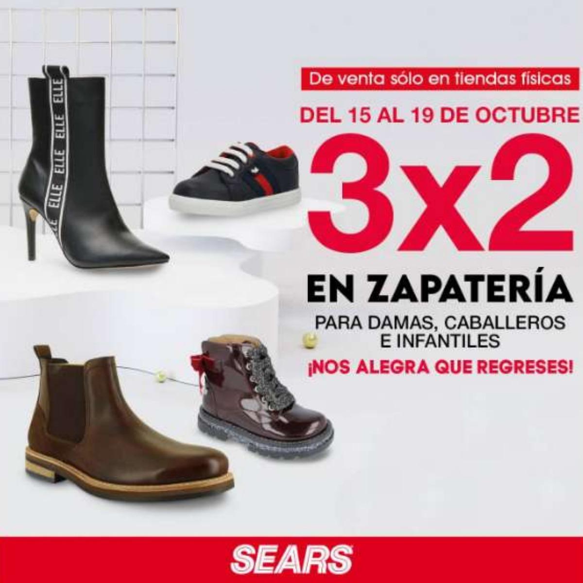 Sears: 3×2 en zapatería para, dama, caballero e infantiles octubre 2020