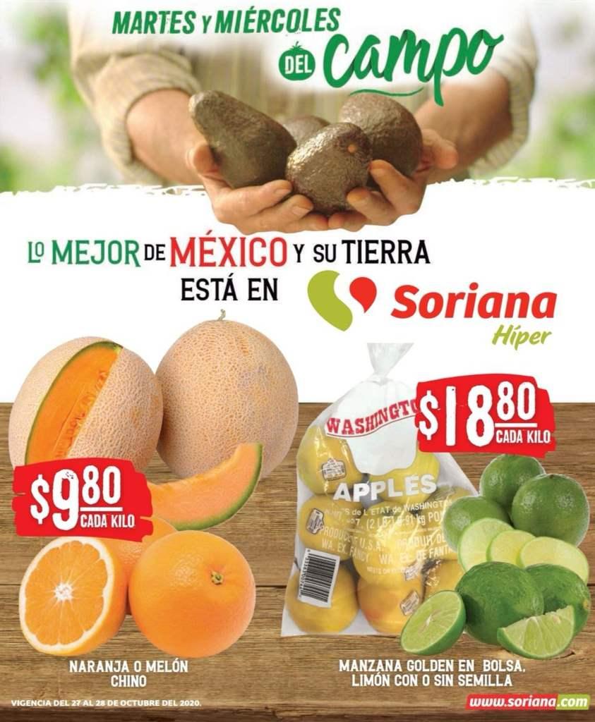 Ofertas Soriana Súper Martes y Miércoles del Campo 27 y 28 de octubre 2020