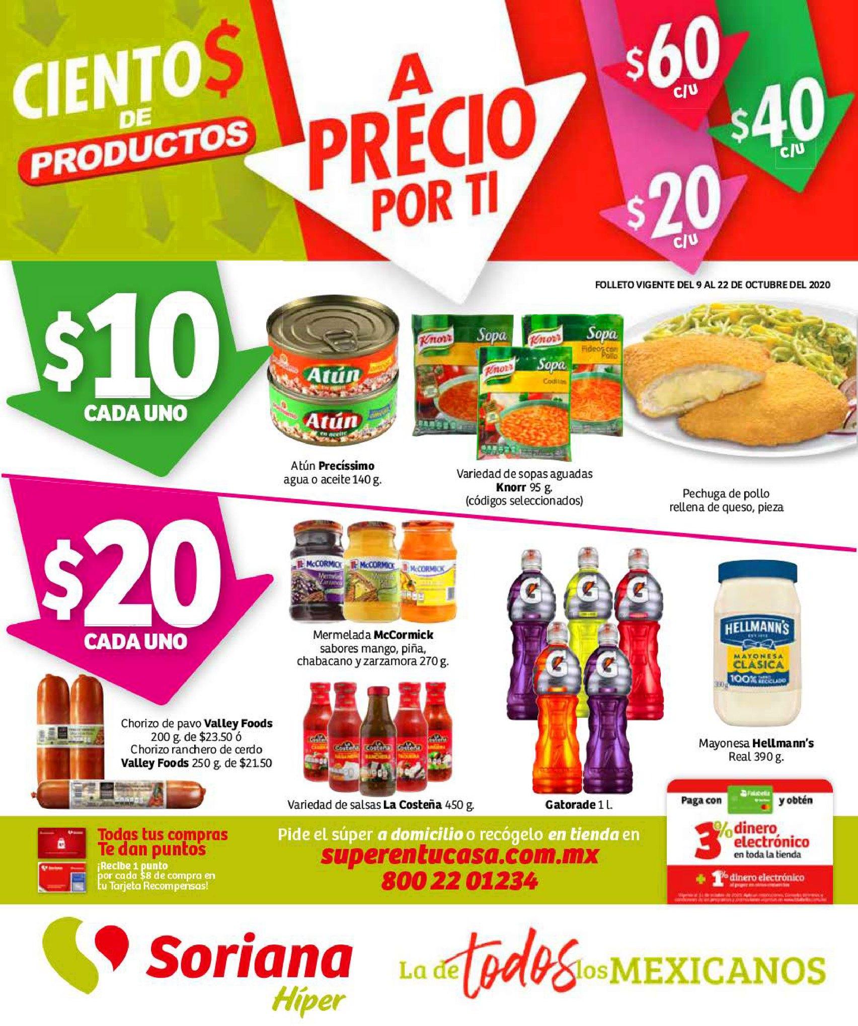 Folleto Soriana Híper Cientos de Productos del 9 al 22 de octubre 2020