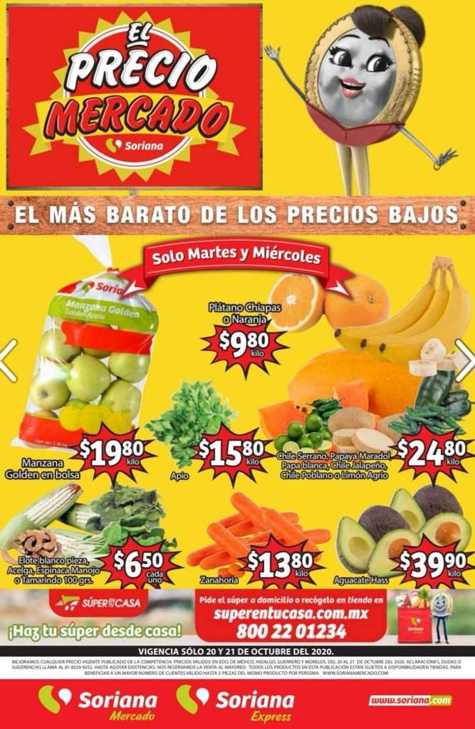 Folleto Soriana Mercado frutas y verduras 20 y 21 de octubre 2020
