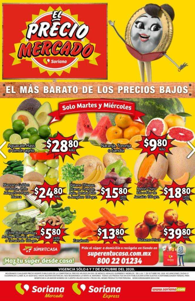 Folleto Soriana Mercado frutas y verduras del 6 al 8 de octubre 2020