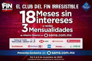 Sams Club Fin Irresistible 2020: 18 meses sin intereses y 4 meses de ahorro