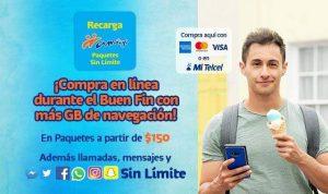 Telcel Buen Fin 2020: Mas GB en paquetes amigo sin límite e internet
