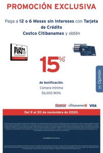 Costco Buen fin 2020: 15% bonificación con tarjeta de crédito Citibanamex